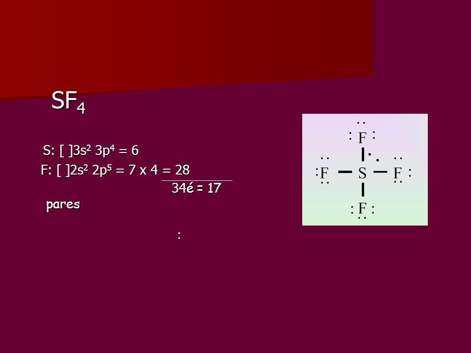 SF4 S: [ ]3s2 3p4 = 6 F: [ ]2s2 2p5 = 7 x 4 = 28 34é = 17 pares :